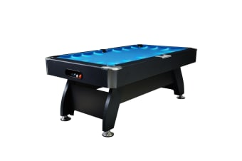 7FT Modern Design MDF Pool Table Snooker Billiard Game Table with LED Light Top with Accessories Pack,Black Frame / Blue Felt