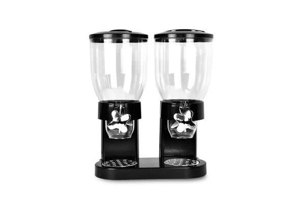 Double Cereal Dispenser Dry Food Storage Container Black