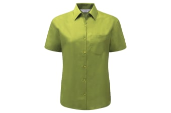 Russell Collection Ladies/Womens Short Sleeve Poly-Cotton Easy Care Poplin Shirt (Lime)