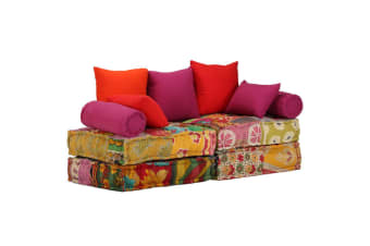 vidaXL 2-Seater Modular Sofa Bed Fabric Patchwork