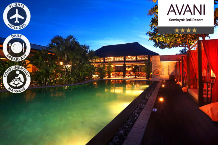 BALI: 5 Nights at Avani Seminyak Bali Resort Including Flights for Two (Departing SYD/MEL/BNE/ADL)