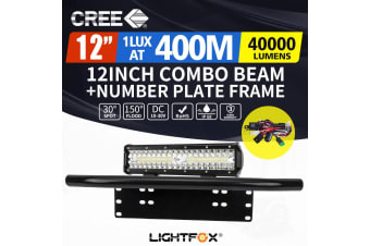 LIGHTFOX 12Inch Cree LED Light Bar 23'' Number Plate Frame Combo Beam Work Driving Lights