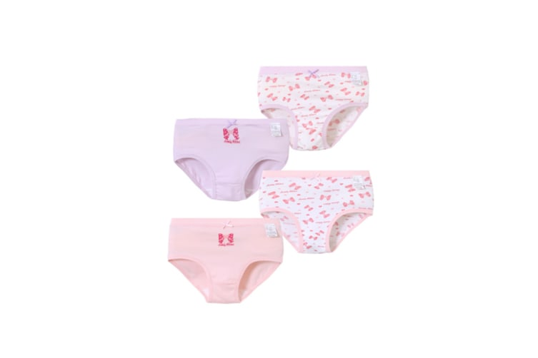 4Pcs Girls Underwear Set Soft Boxers Cotton Briefs Breathable Stripes Solid Panties - 11 Purple 160Cm