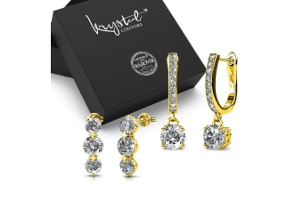 Boxed 2 Pairs of Gold Earrings Set Embellished with Swarovski Crystals