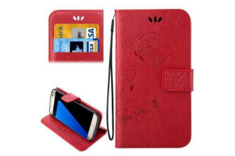 purchase cheap 9f778 8e0d1 For Samsung Galaxy S7 EDGE Wallet Case Stylish Butterfly Horse Leather  Cover Red