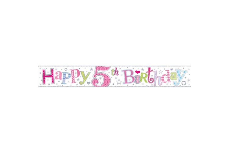Simon Elvin I Am 5 Today Holographic Foil Banner (Pink) (Pack of 6)