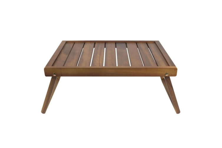 Davis & Waddell Acacia Wood Breakfast Tray Serving Carry Bed Table Folding Legs