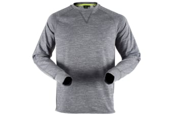 Tombo Teamsport Mens Long Sleeve Crew Neck Running Top (Grey Marl / Grey) (L)