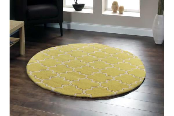 Lattice Chartreuse Yellow Rug Round 200x200cm