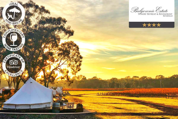 BENDIGO: 2 Nights at Balgownie Estate Winery Retreat for Two (Bell Tent)