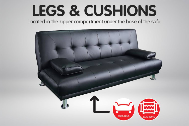 Manhattan 3 Seater Faux Leather Sofa Bed Couch Lounge Futon - Black