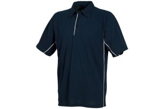 Tombo Teamsport Mens Pique Sports Polo Shirt (Navy/Navy/White piping)