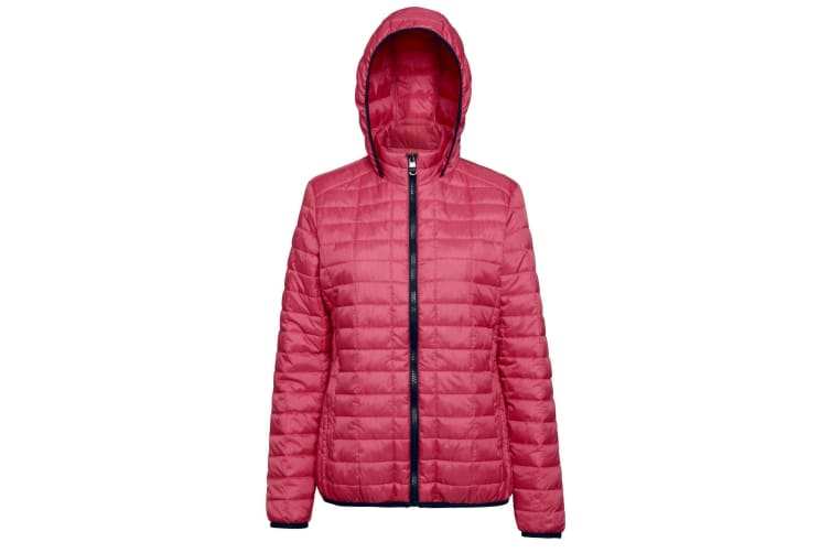 2786 Womens/Ladies Honeycomb Padded Hooded Jacket (Red) (2XL)