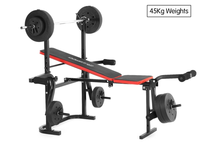 Phenomenal Powertrain Home Gym Workout Bench Press With 45Kg Weights Pdpeps Interior Chair Design Pdpepsorg