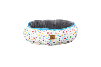 Pet Reversible Oval Pad - Rainbow Dots S-45 x 56 x 15cm