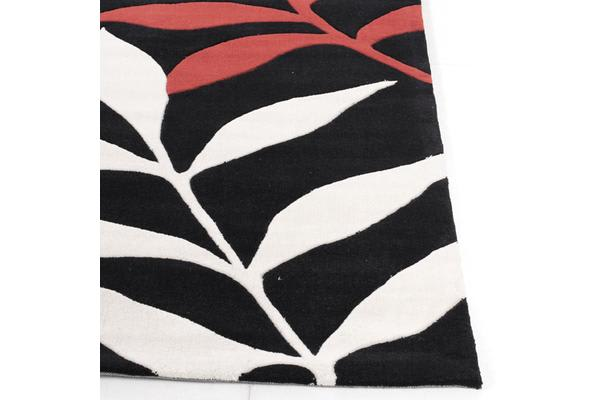 Stunning Leaf Design Rug Black Red 225x155cm