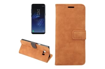For Samsung Galaxy S8 PLUS Wallet Case Horizontal Flip Sheep Leather Cover Brown