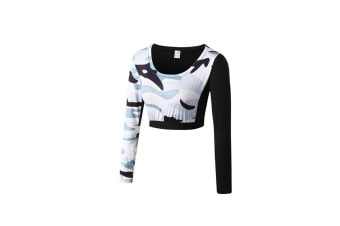 Women Crop Top Long Sleeve Yoga T-Shirt Quick Dry Gym Running Tights Tees - White White XL