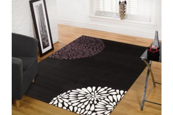 Modern Burst Pattern Rug Black Purple 230x160cm