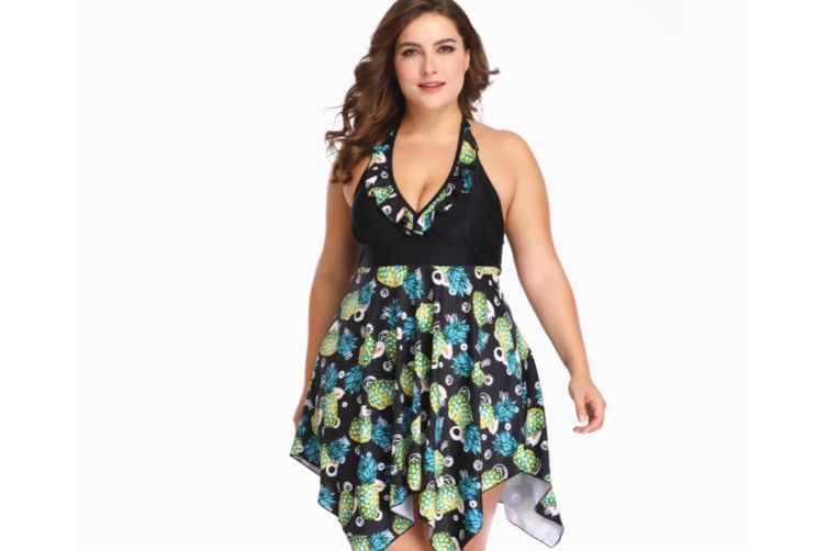 Ladies'Large-Size Swimming Suit With Separate Printed Skirt - 2 3Xl