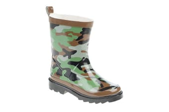 StormWells Childrens/Kids Camouflage Print Wellingtons (Green/Brown/Black)