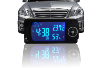 12V In Car Digital Weather Station Blue Backlit Lcd Temperature Humidity Clock