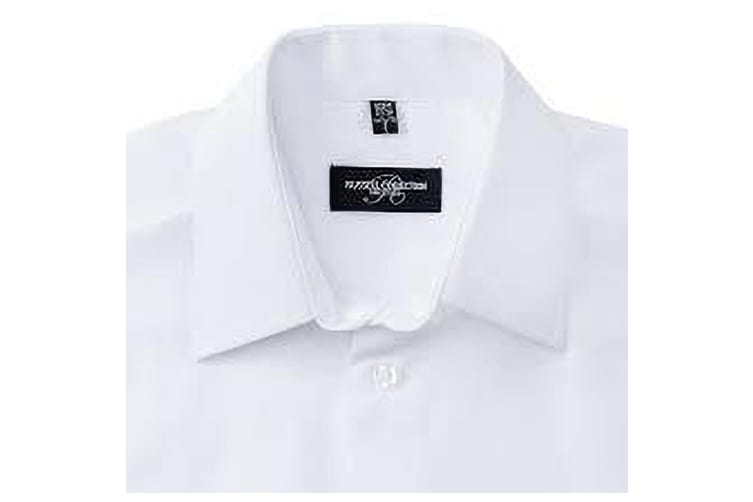 Russell Collection Mens Short Sleeve Poly-Cotton Easy Care Tailored Poplin Shirt (White) (L)