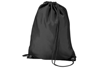 BagBase Budget Water Resistant Sports Gymsac Drawstring Bag (11L) (Black)