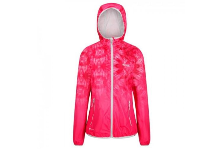Regatta Womens/Ladies Leera III Lightweight Hooded Waterproof Jacket (Neon Pink Tie Dye) (10 UK)