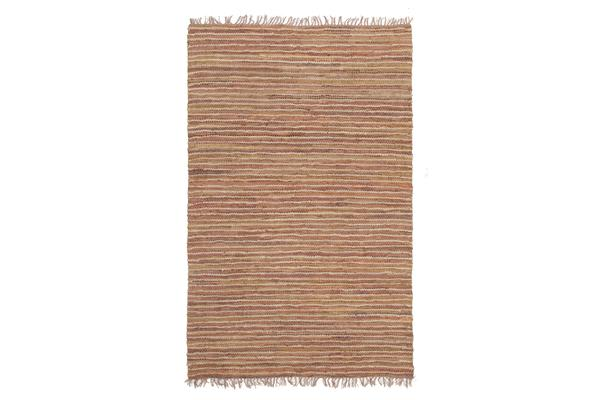 Bondi Leather and Jute Rug Brown 220x150cm