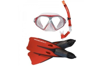 Hammerhead Reef Mask, Snorkel and Fin Set Red Large