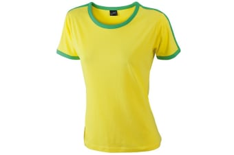 James and Nicholson Womens/Ladies Flag Tee (Yellow/Frog Green) (XL)