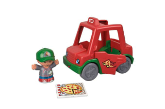 Little People Small Vehicle Have a Slice Pizza Delivery Car
