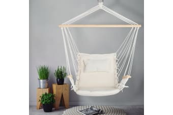 Hanging Rope Hammock Chair Outdoor Camping Portable Swing Cream