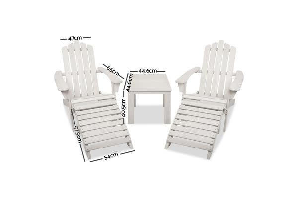 Garden 5pc Outdoor Wooden Adirondack Chair and Table Set (Beige/White)