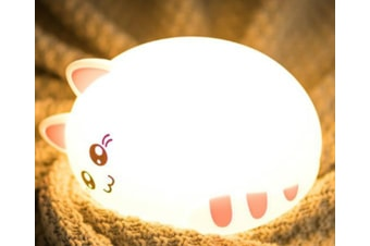 Select Mall Remote Control Creative Colorful Cat Silicone Lamp Night Light Bedroom Bedside Children Sleep Feeding Lamp-1#