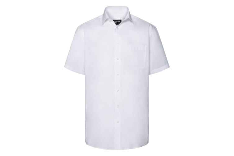 Russell Collection Mens Short Sleeve Tailored Coolmax Shirt (White) (L)