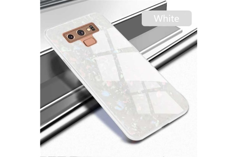 Shiny Seashell Pattern Tempered Glass Hard Back Cover Shell For Samsung White Samaung S9