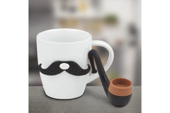 Dandy Moustache Mug & Tea Infuser `Pipe` Gift Boxed Set