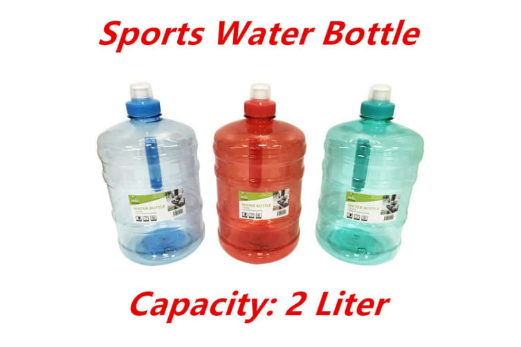 2L LITRE LITER BPA FREE SPORTS WATER BOTTLE with HANDLE RED GYM BIKE  TRAINING DRINK