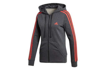Adidas Women's Essentials 3 Stripes Hoodie (Dark Grey Heather/Real Coral)