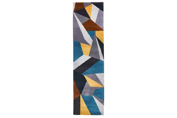 Laura Designer Wool Rug Blue Yellow Grey 300x80cm