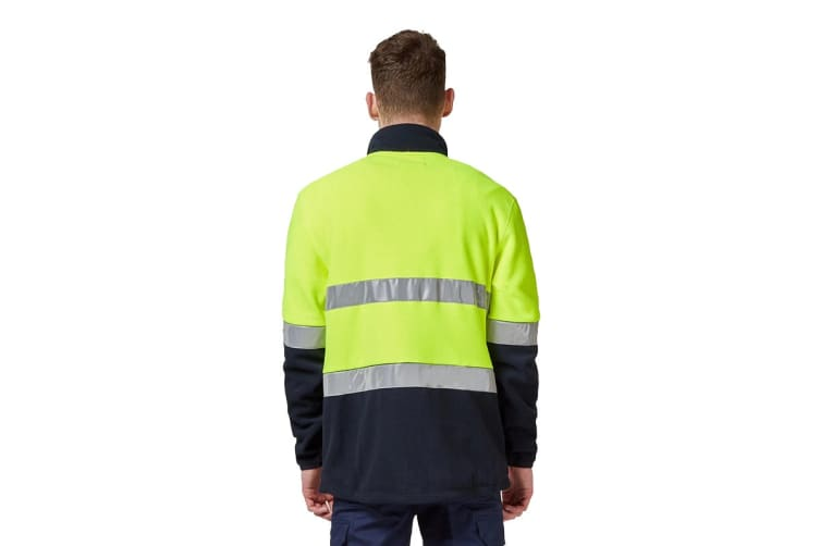 King Gee Reflective Full Zip Spliced Hi Vis Fleece (Yellow/Navy, Size S)