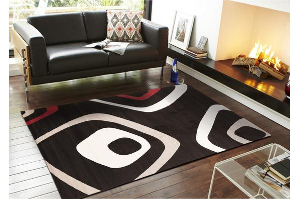 Retro Squares Rug Black Grey Red 280x190cm