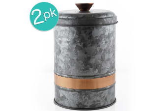 2x ThirstyStone Large 25x17cm Galvanize Iron Canister Jar Food Storage Container