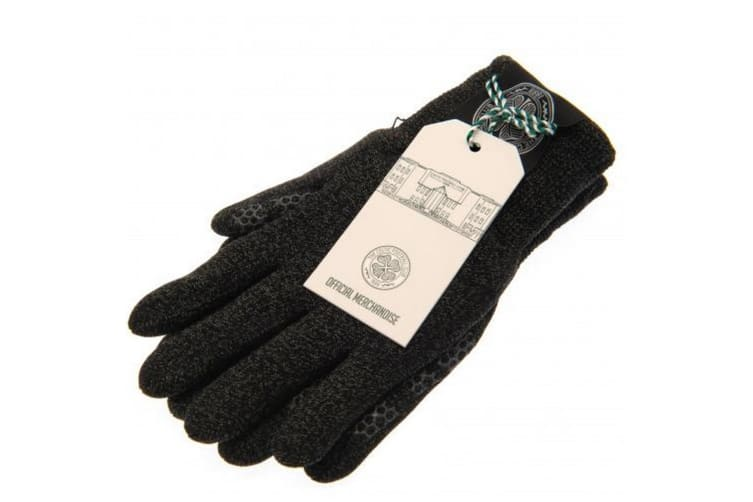 Celtic FC Unisex Adults Luxury Touchscreen Gloves (Grey) (One Size)