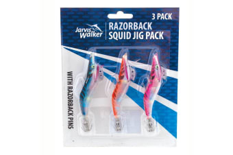 3 Pack of Size 3.0 Jarvis Walker Razorback Squid Jig Lures