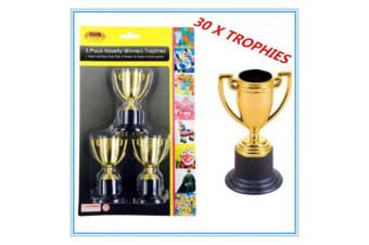 30 X MINI SMALL NOVELTY PARTY GOLD TROPHIES BIRTHDAY PARTY EVENT OLYMPIC dddd