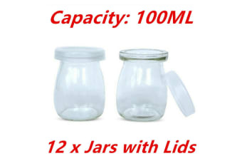100ML 12pcs Glass Pudding Jars Glass Jars for Yogurt Milk Parfait with Lid Caps