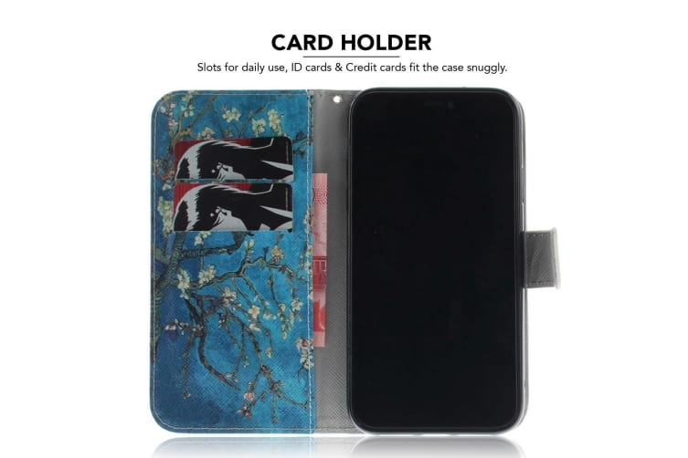 Folio Leather Case Holder Card Slots Wallet For iPhone XR Apricot Tree